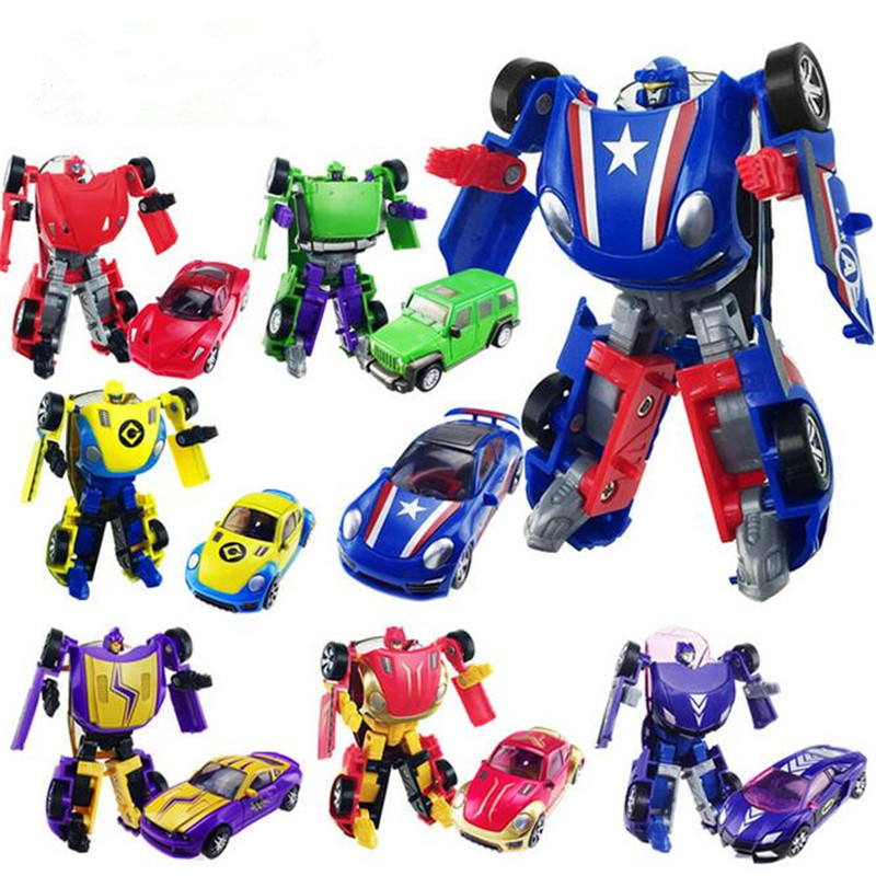 Boys' Toy!! Plastic Robot Cars Transformation Toy Minifigures Action Figure Toy Children Birthday Gifts Brinquedos(China (Mainland))