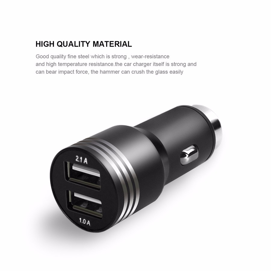 G.D.SMITH Smart USB Car Charger for Apple iPhone / Samsung / Xiaomi 5V 2.1A 2 Port Mobile Phone Dock Retail and Wholesale