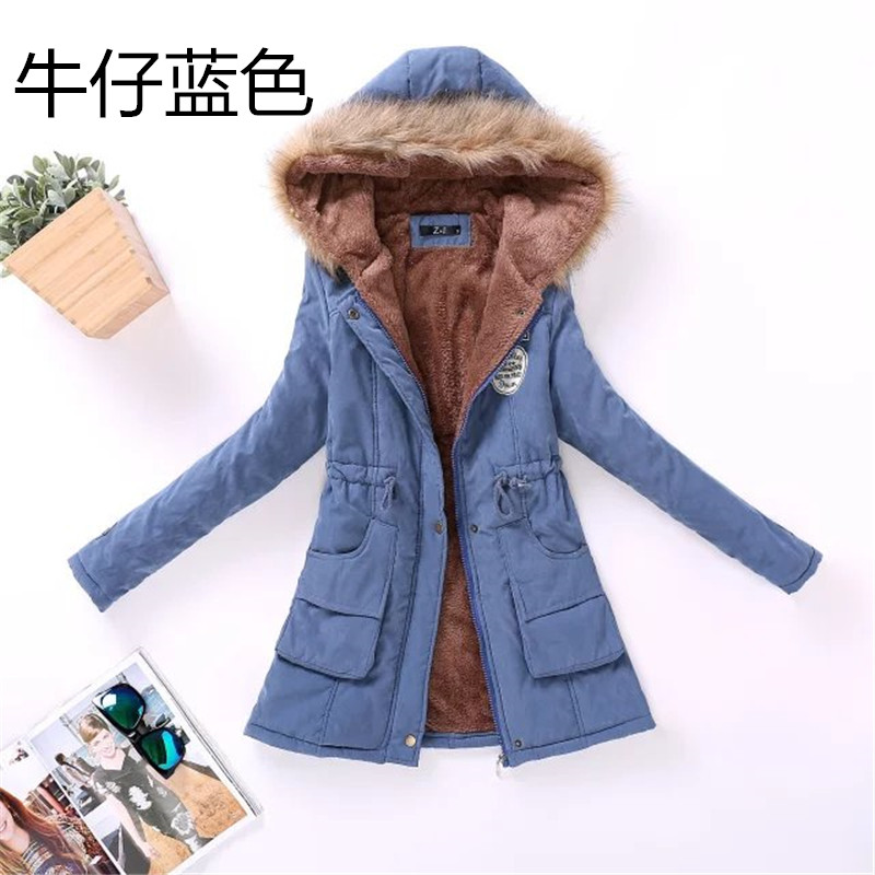 2016 Winter large size cotton jacket women large wool collar hooded coat femme cotton lamb wool thicke clothes female