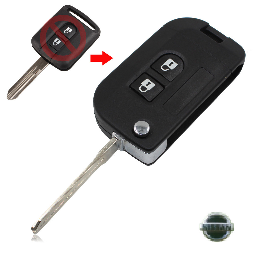 Uncut Flip Folding Remote Key Shell Car Case Fob Cover for Nissan Micra Navara Almera Note 2 Buttons With LOGO Free Shipping(China (Mainland))
