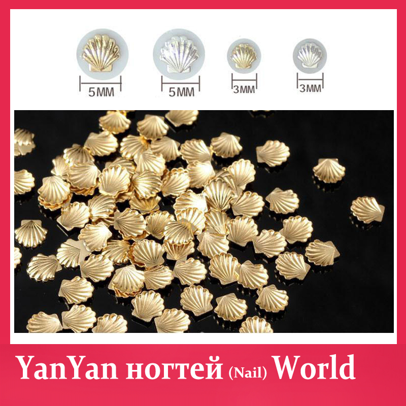 50pcs/pack Gold Silver 3d Metal Sea Shell Beads Design Nail Art Rhinestone Studs Spike Nail Tips Stickers Accessories Decoration(China (Mainland))
