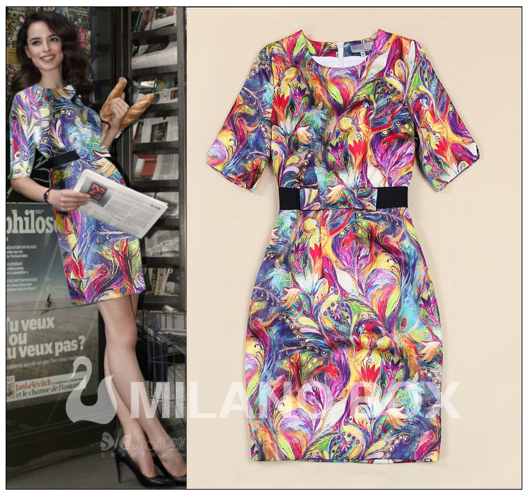 Europe Fashion Lady Clothing Elegant Vintage 2015 Summer Brand Fancy Prints Short Sleeve Slim Shift Silk Dresses Women Vestidos(China (Mainland))