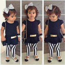 Baby Girl clothes 3pcs Short Sleeve T-shirt+Pants+Belt Set Clothes Kids Summer Outfits children clothes(China (Mainland))