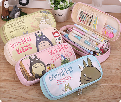 Cut Catoon Large Capacity Multifunctional Canvas Pencil Cases Big Leather Pen Bags Box for Boys Girls School Stationery(China (Mainland))