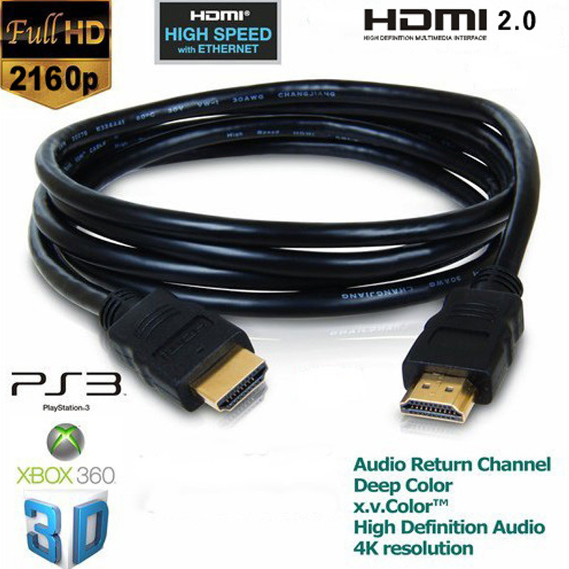 OD5.5MM 3M hdmi to hdmi video audio cable HDMI 2.0 cables extender adapter cabo kable 4K*2K 3D 2160P Gold Plated for PS3 HDTV(China (Mainland))
