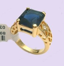 Ring.Size 9(S).Free shipping.Gift insurance. Provide tracking numbers.Sapphire 18K GP Gold Ring.(China (Mainland))