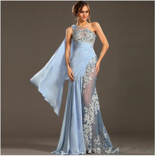 New Arrival See Through Sexy Prom Dresses Applique Beading One Shoulder Prom Party Dress Sexy Evening Dresses ZLL113(China (Mainland))