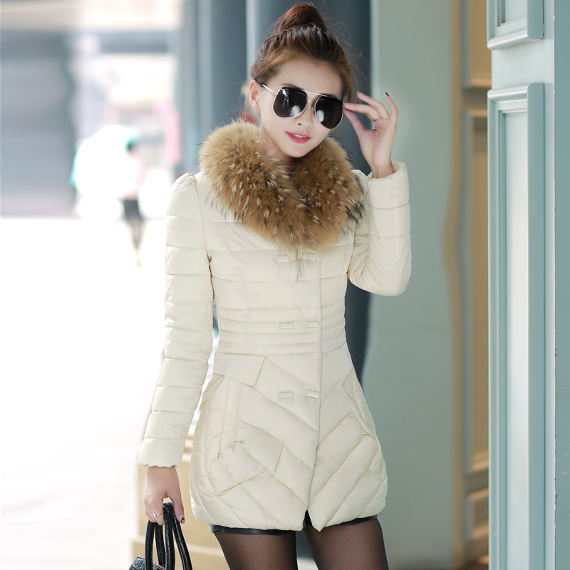2015 New Fashion Women Coat Winter Down Parkas Coat Thick Double Breasted Fur Collar Candy Color Duck Down Jacket for girl Y108DОдежда и ак�е��уары<br><br><br>Aliexpress