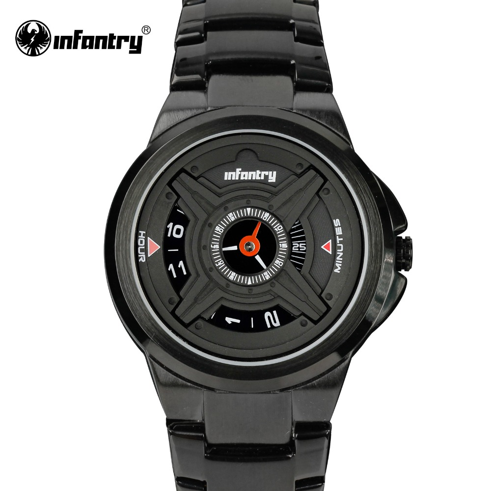 INFANTRY Mens Quartz Watches Luxury Sport Army Analog Wristwatch Black Stainless Steel Military Watches Relogio Masculino 2016(Hong Kong)