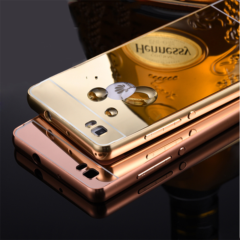 "Luxury Mirror Ultra Slim Metal Aluminum Acrylic Hard Cover Armor Case For Huawei Ascend P8 5.2 inch & P8 Lite 5.0"" Inch(China (Mainland))"