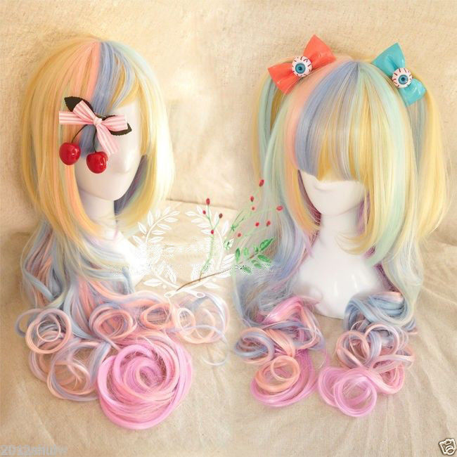 Hot heat resistant Party hair>>Harajuku rainbow ice cream long curly hair lolita Lolita cosplay wig(China (Mainland))