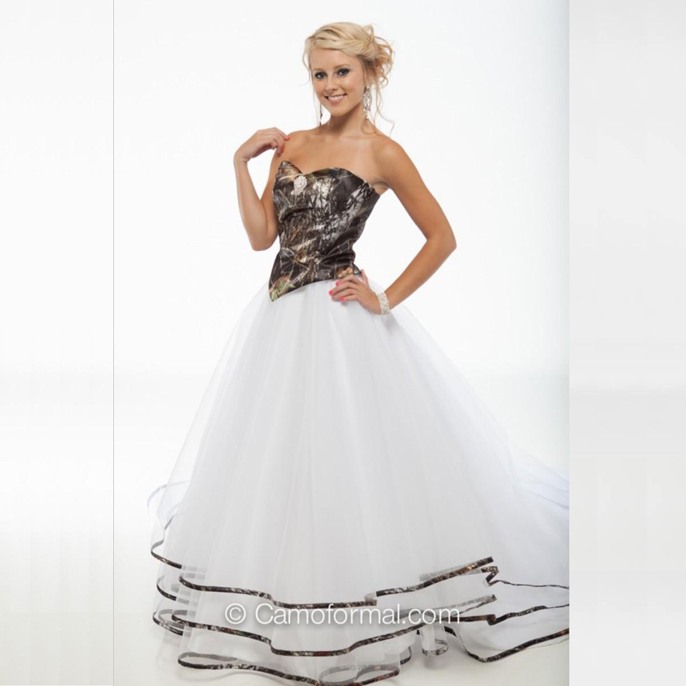 Mossy Oak Wedding Dresses: Romantic-2015-A-Line-Camo-Wedding-Dress-Sweetheart-Organza