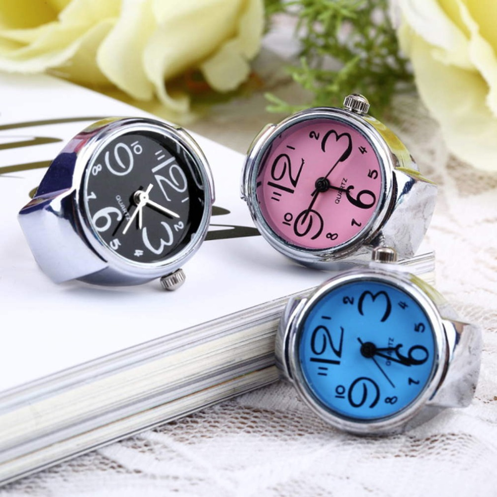 Hot Search 1pc Creative Fashion Lady Girl Steel Round Elastic Quartz Finger Ring watch women New Drop Shipping