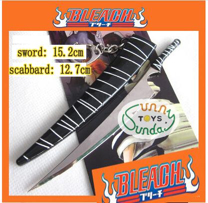 SST* Anime ( Bleach ) Katana Black Sword Scabbard Sheath Ichigo Kurosaki Boys Toys Keychain Metal Weapons Cosplay Gift +(China (Mainland))