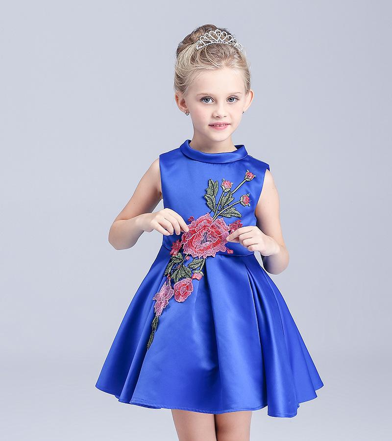 summer dress girls 2016 England style Appliques Ball Gown flower girl dresses blue+white children clothing girls(China (Mainland))