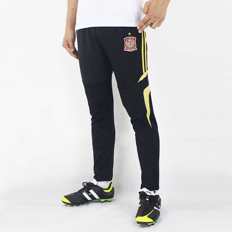 Yellow Striped 100% Polyester Soccer Training Pants Mens Jogging Sport Pants Football Trousers Collect Legs Sweatpants(China (Mainland))