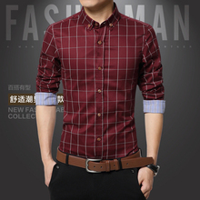 2016 New 8Color Fashion Shirt Mens Slim Fit Social Man long Sleeve Shirts Men's Clothing Slim Casual shirts 5 Size XXXL(China (Mainland))