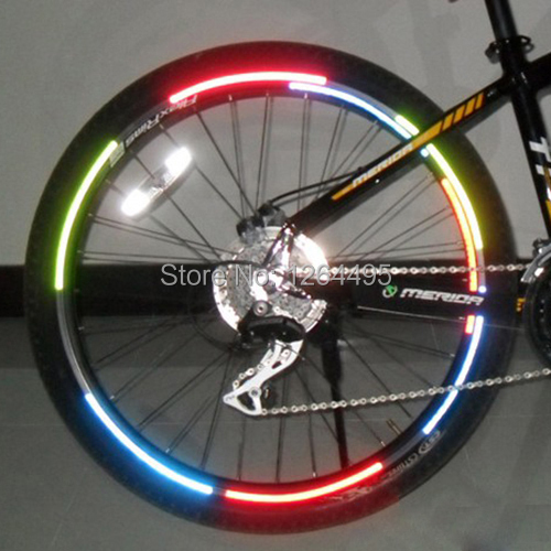 Cool DIY Bicycle Reflective Stickers Bike Wheel Rim Accessories Fluorescent Decal Reflection Paster for Outdoor Cycling Sports(China (Mainland))
