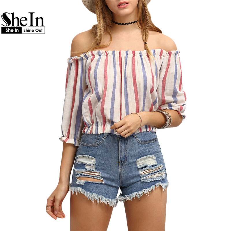 SheIn Womens Vertical Striped Off-The-Shoulder Tops Ladies Fashion Summer Three Quarter Length Sleeve Crop Blouse(China (Mainland))