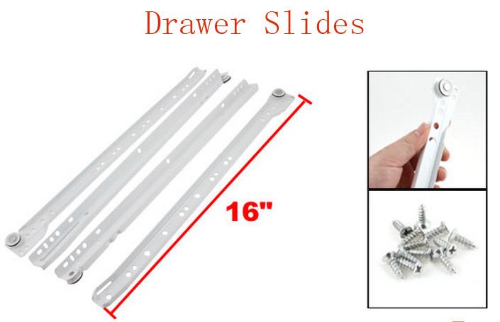 """White Metal Furniture Computer Desk Drawer Slides Pair 16"""" w Screws(China (Mainland))"""