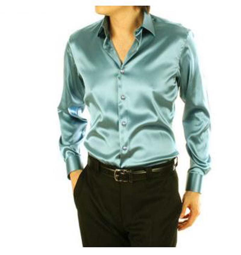 Popular Mens Green Long Sleeve Silk Dress Shirt-Buy Cheap Mens ...