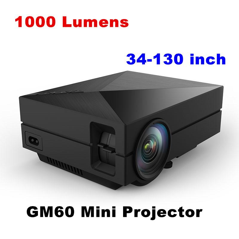 Original GM60 1000 Lumens 1920 x 1080 Video USB VGA SD Projector Home Cinema Theater HDMI Proyector Beamer Black White Gold