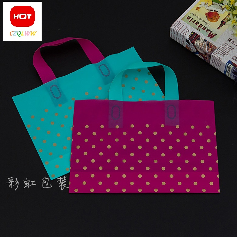 Hot Sale green/pink dots Wholesale 20pcs Shopping Bags Plastic Gift Bags clothing bags(China (Mainland))