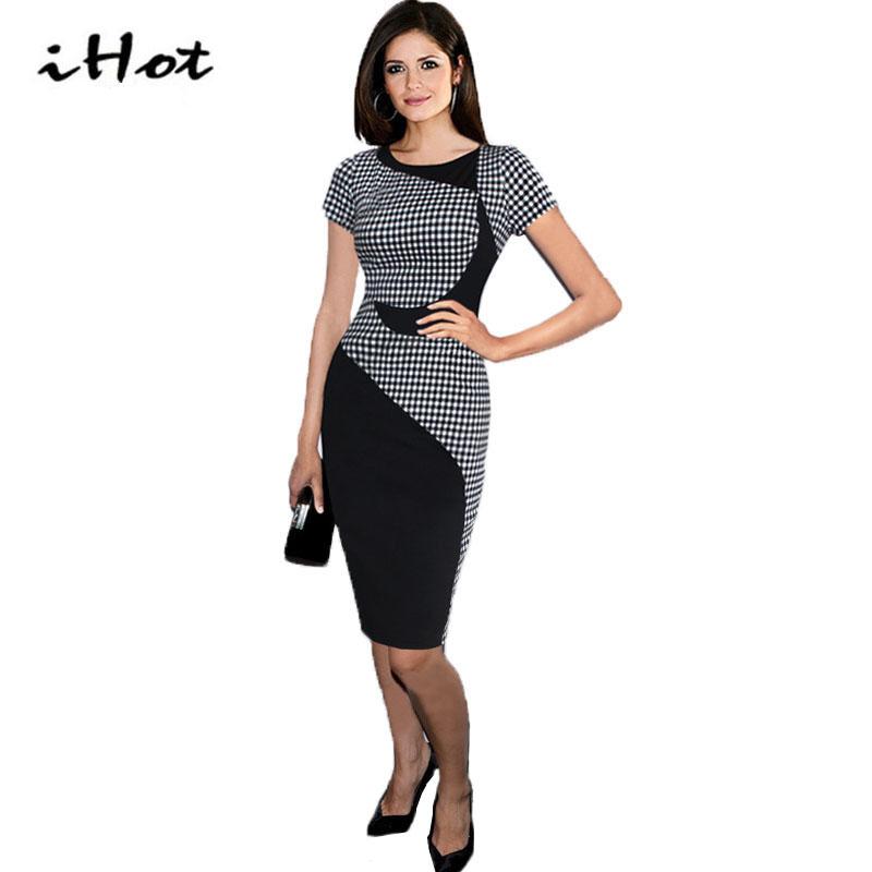 IHOT Summer women elegant movie stars font b tartan b font short sleeve tunic cotton stretch