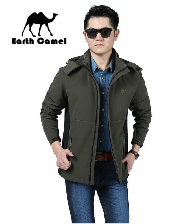 Earth <font><b>Camel</b></font> New Arrival Original brand New Style Man's Outdoor Jacket,Good Quality Detachable Hooded Mountain Jackets