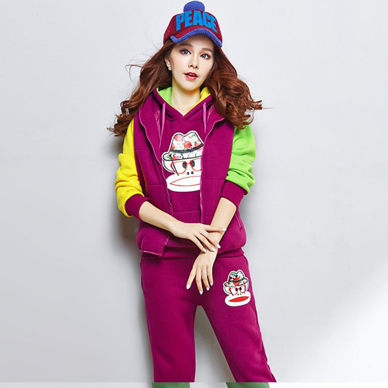 Women Sweatshirts Hoodies New Winter Tracksuits Vest Pullover and Trousers Cartoon Fashion Jogging Sport Suits PL0264Одежда и ак�е��уары<br><br><br>Aliexpress