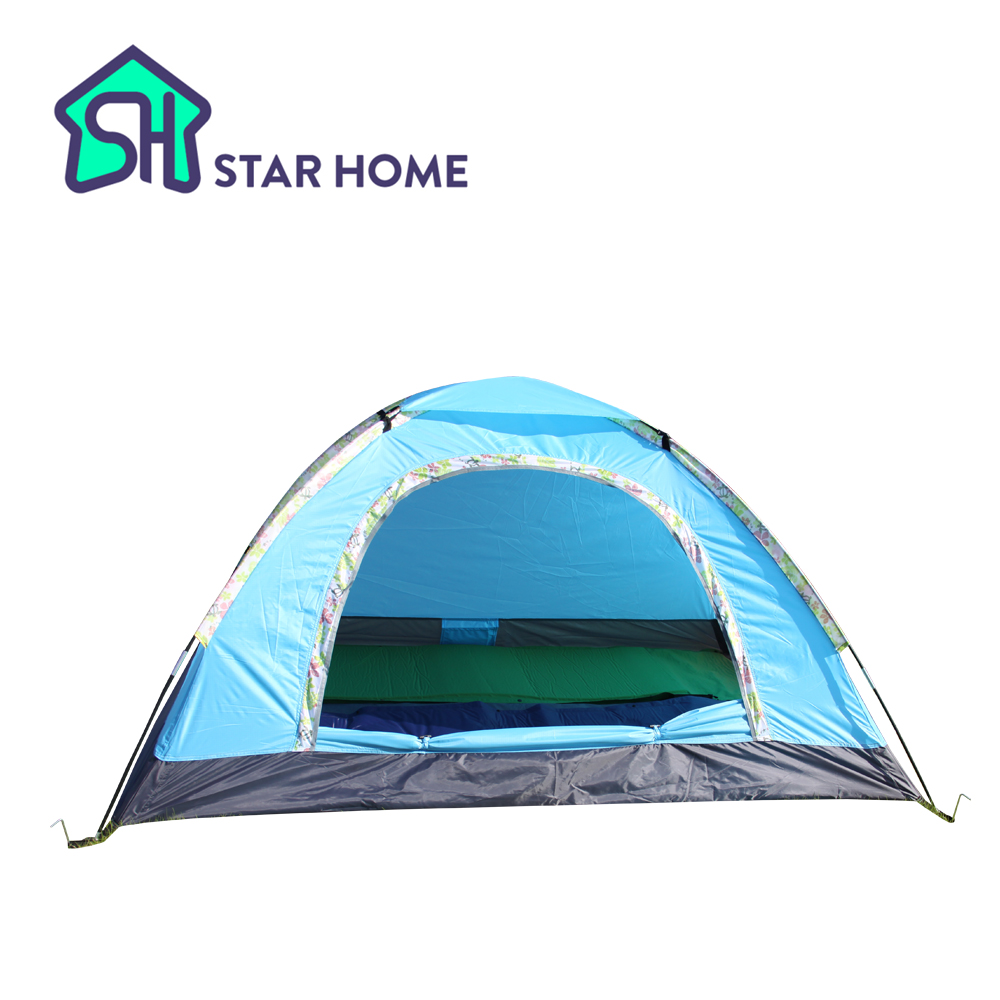 STAR HOME Camping Tent 2 Person Waterproof Portable Single Layer Outdoor Beach Tents Polyester PU1000mm Very nice blue color(China (Mainland))