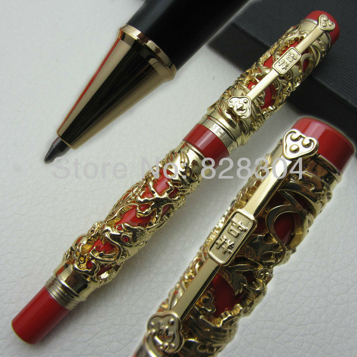 Jinhao Long Feng heavy golden red Chinese Classical luck clip roller pen free shipping<br><br>Aliexpress