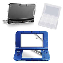 Clear Crystal Protective Hard Case + Screen Protector + White Smoke 28in1 Card Case for New 3DS XL/LL