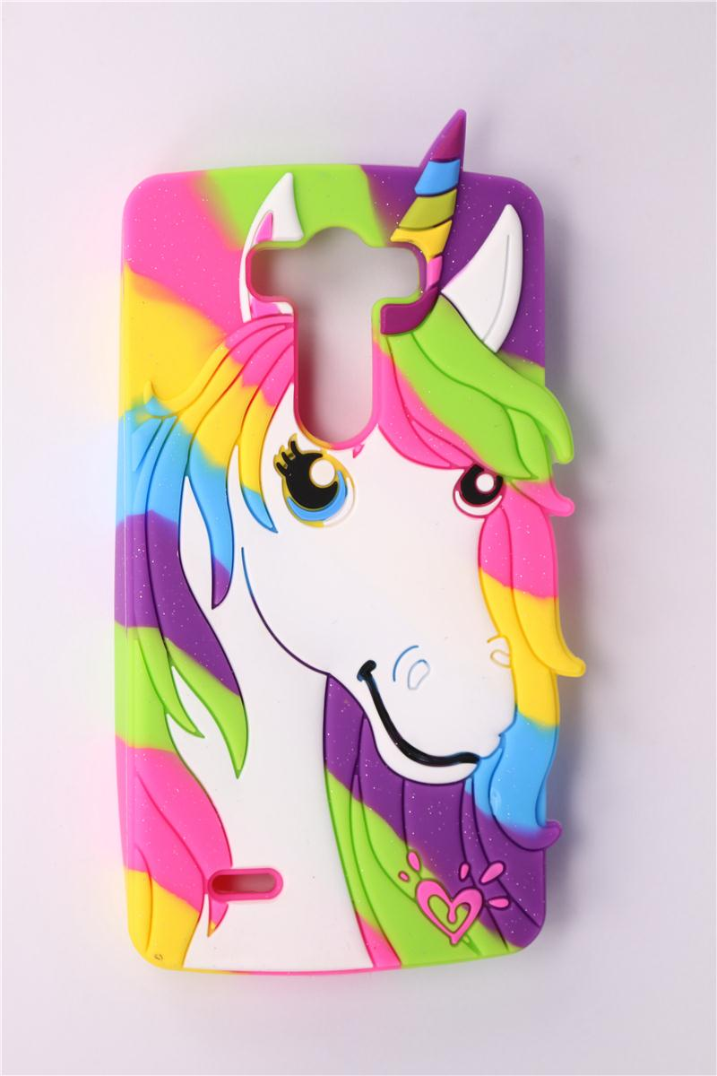 Phone Case LG Optimus G3 D850 D855 2015 3D Cute Cartoon Colorful Unicorn Pattern Soft Silicone Back Cover - Rose Angel store