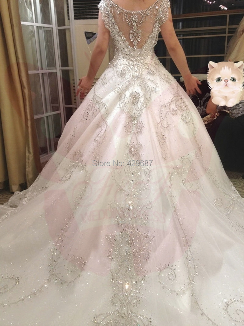 Luxury 2015 Wedding Dresses V Tulle Beaded Crystal Bridal Gowns Short Sleeves Cathedral Train