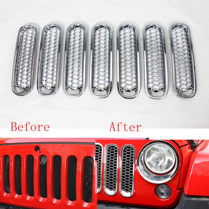 Grille Grill Front Insert Mesh Trim Cover Shell Fit For Jeep Wrangler 2007-2015 7x Silver<br><br>Aliexpress