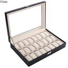 2016 HOMDOX Brand PU Leather Watch Display Box 20 Grid Watch Case Jewelry Storage Organizer