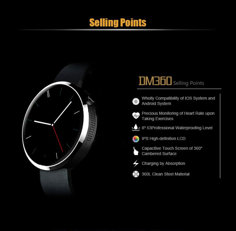 2015 new smartwatch dm360 for IOS Andriod Mobile Phone watch with Heart monitor bluetooth Wristwatch smartwatch dm 360 stock(China (Mainland))