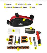 Bicicleta / bicicleta juego de herramientas Kit de 16 en 1 herramienta de reparación de bicicletas Kit ( Mini bomba / cuchara / archivo / pegar / pista )