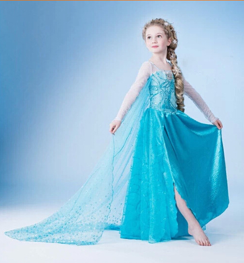 Hot 2015 Summer Girls Dress Elsa Anna Cosplay Dress vestidos infants princess Dress Children Clothing Baby Kids Clothes 4-10Y(China (Mainland))