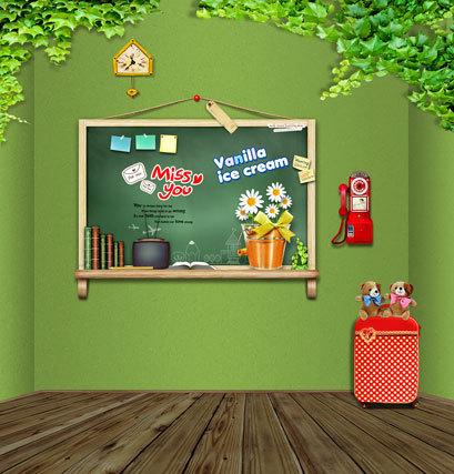 Groene kamer muur cildren 5x7ft computer geschilderde vinyl kinderen fotografie achtergronden - Muur kamer kind ...