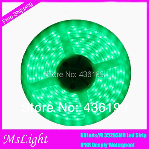 Fully Submersible Waterproof LED Strip IP68 smd 3528 led 12v 60Leds/M Led Tape for garden light outdoor lighting Aquarium Light(China (Mainland))