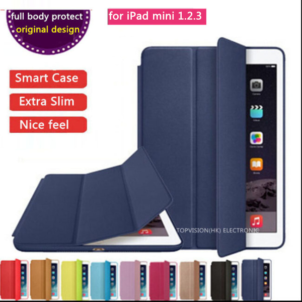 full body protect orignal official design thin flip slim leather case smart cover for apple ipad mini 1 2 3 case cover with logo(China (Mainland))