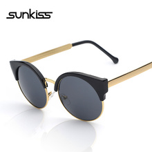 SUNKISS Fashion Retro Designer Vintage Round Circle Glasses CatEye Semi-Rimless 2016 Women Sunglasses Luxury Brand Mens Eyewear(China (Mainland))