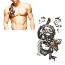 Delicate Cool Men 2014 10*20.5cm Creative Design Black Dragon Waterproof Sweat Temporary Tattoo Stickers with package(China (Mainland))