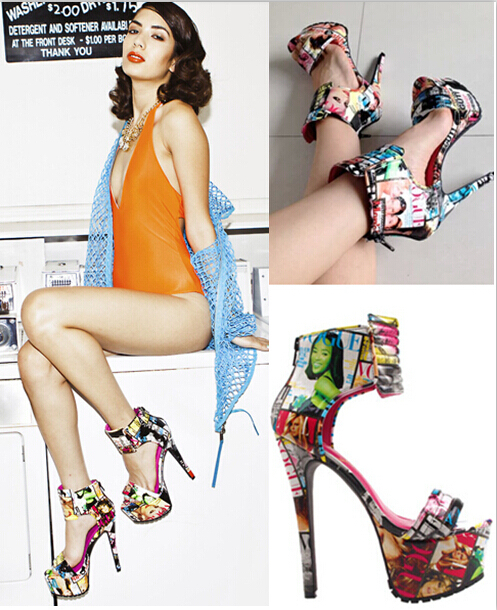 2015 Free Ship Brand Sexy Party Sandals High Heel Platform Graffiti Printing Leather Sandals Booties Open Dancing Shoes Woman <br>