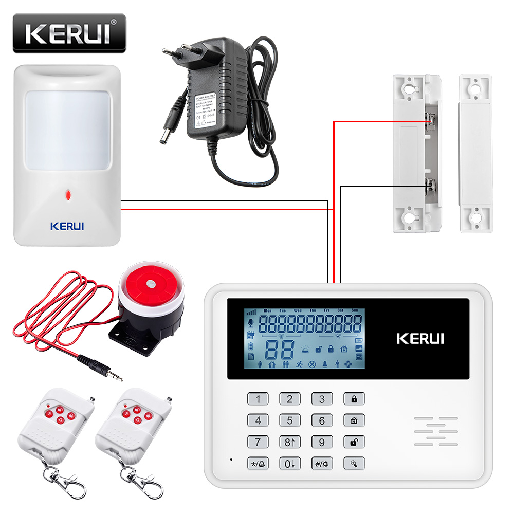 GSM Alarm System Wireless Alarm Systems Security Home Alarm APP Control LCD Keyboard Wired Motion Detector Door Sensor