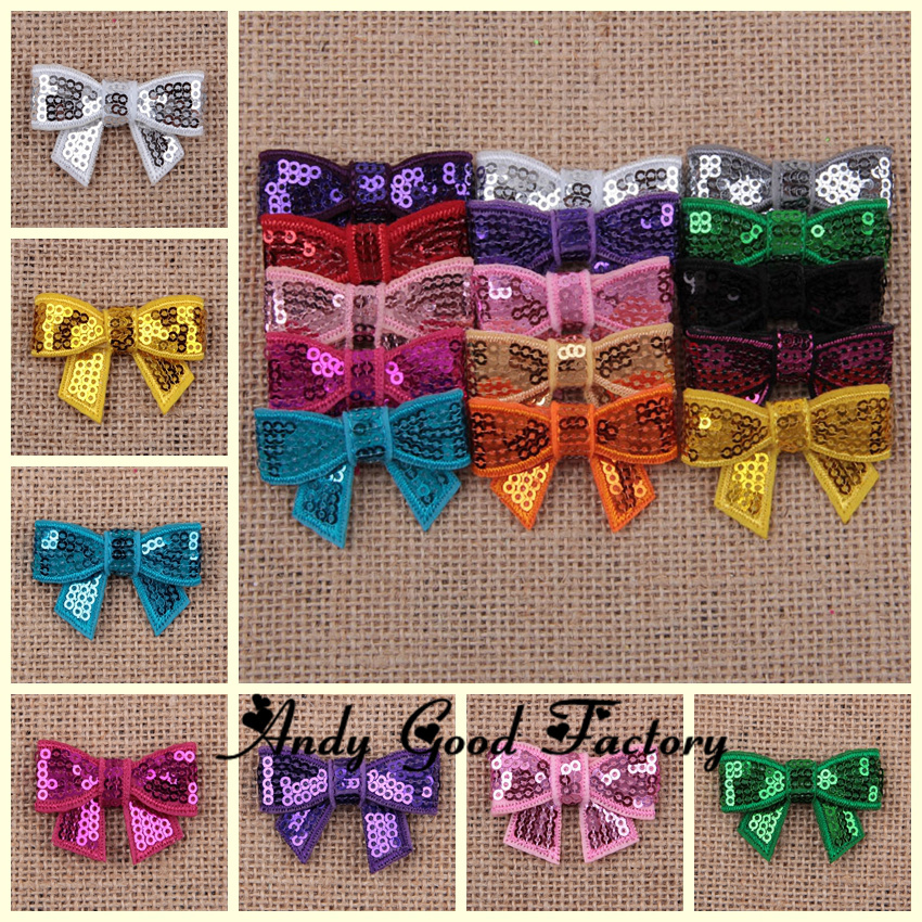 "Wholesale 500pcs 1.5"" Mini Sequin Bows 15 Colors to Choose Sequin Hairbows Hair Accessories for DIY Headband Free Shipping BW08(China (Mainland))"