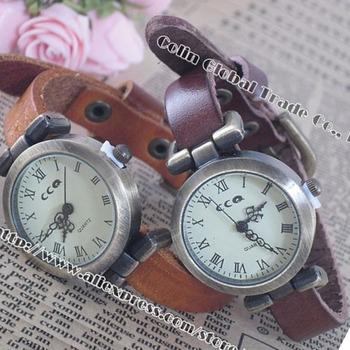 Women Dress Watches Women Quartz Watch Ladies Vintage Leather Clock Retro Casual Sports Watch Men WristWatches Free Shipping