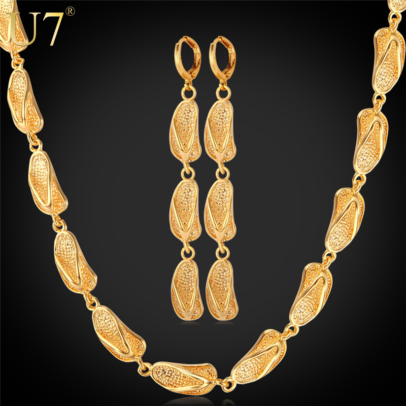 Dubai Gold Plated Jewelry Set New Fashion Jewelry 18K Gold Plated Cute Sandals Earrings Necklace Set For Women Gift S657(China (Mainland))